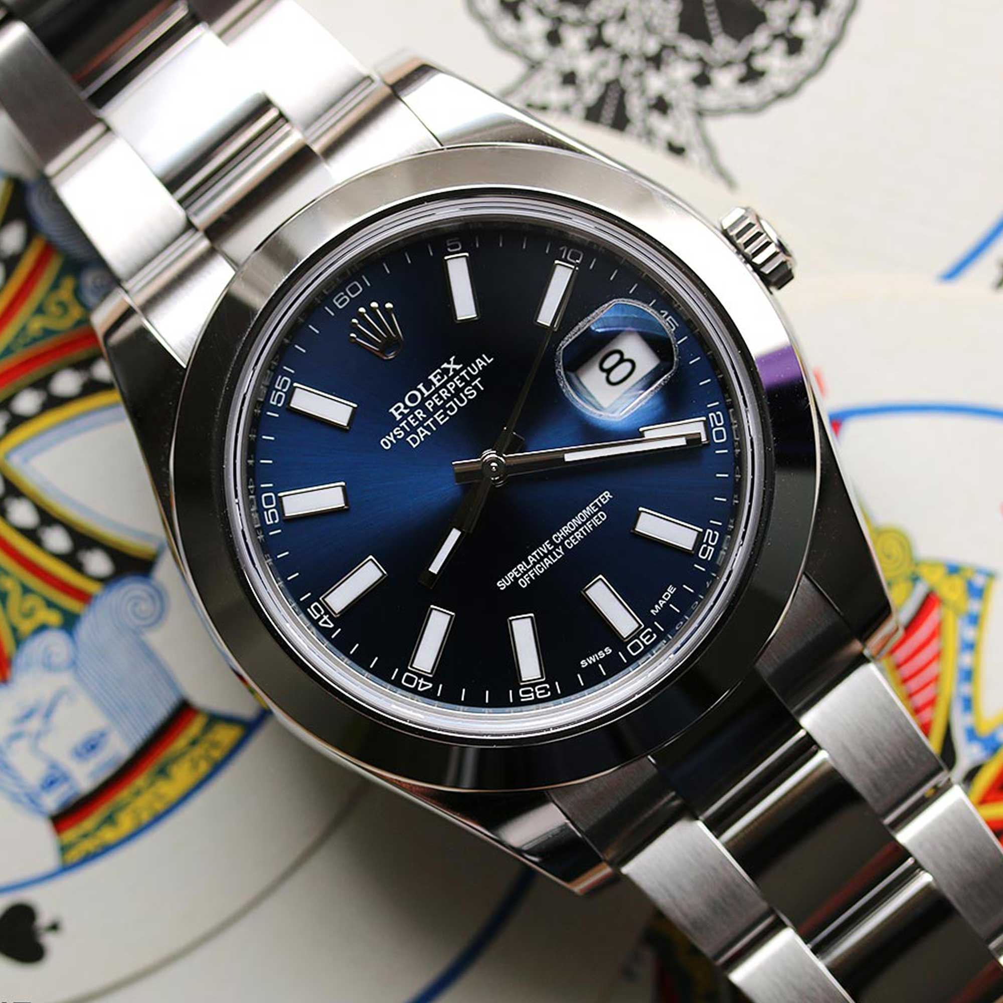 0bc823cac2a Rolex Datejust II 41mm Big Size Blue Stick Dial 116300