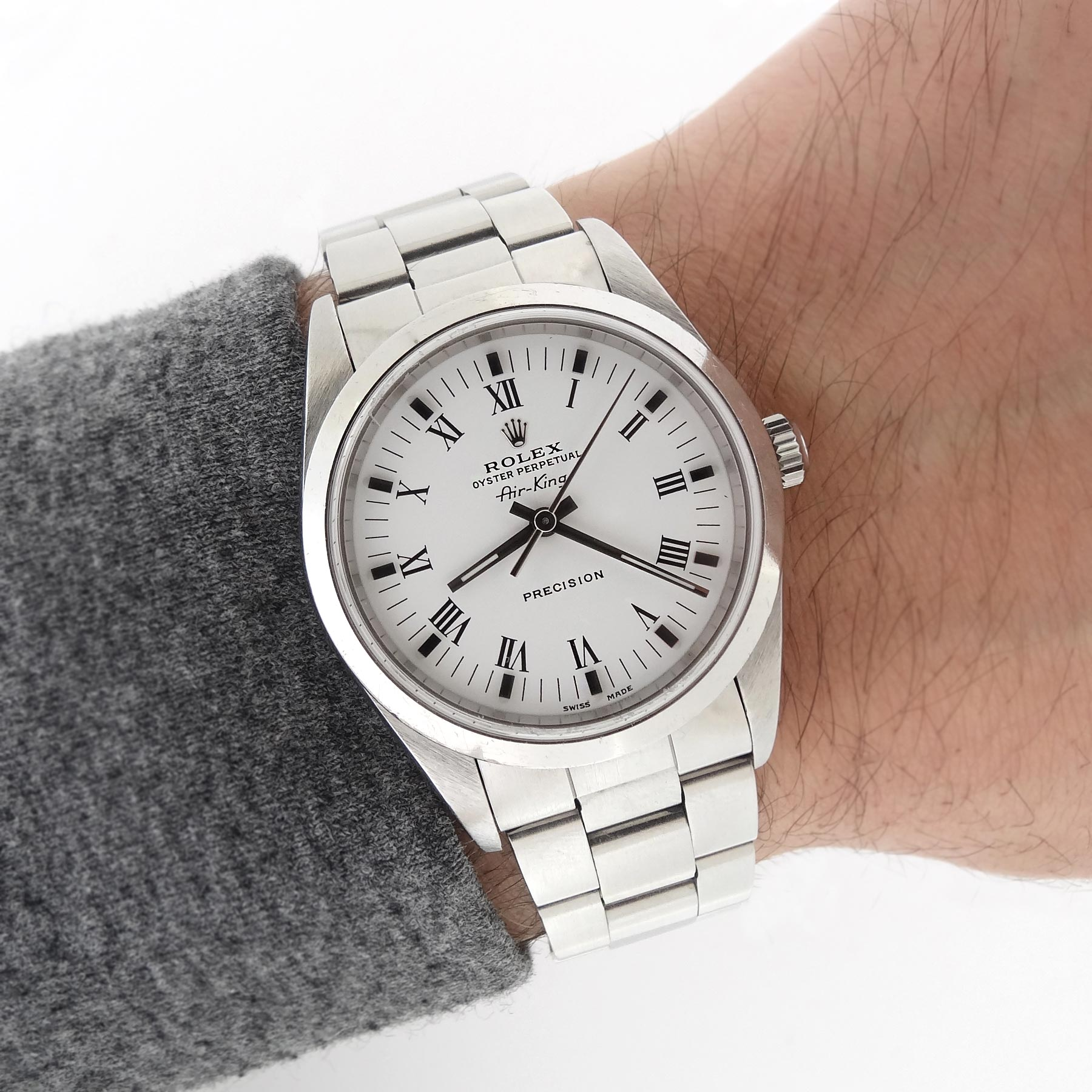 Rolex air king 14000 precision white roman dial luxury watch 717449286079 ebay for Rolex air king