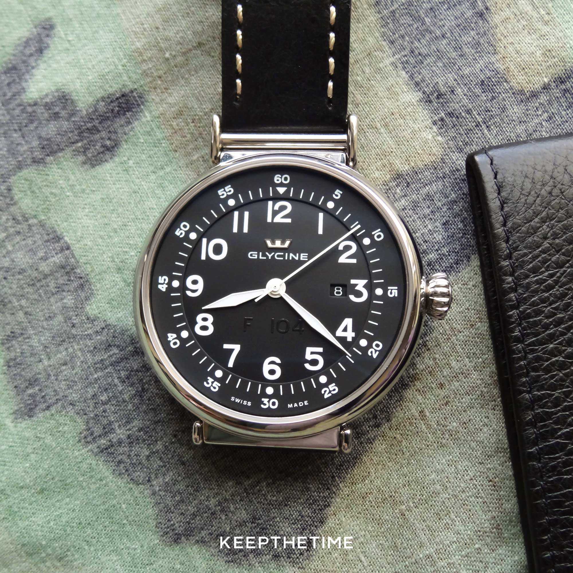 Glycine F 104 Automatic Ultra Legible 48mm On A Black Leather Strap