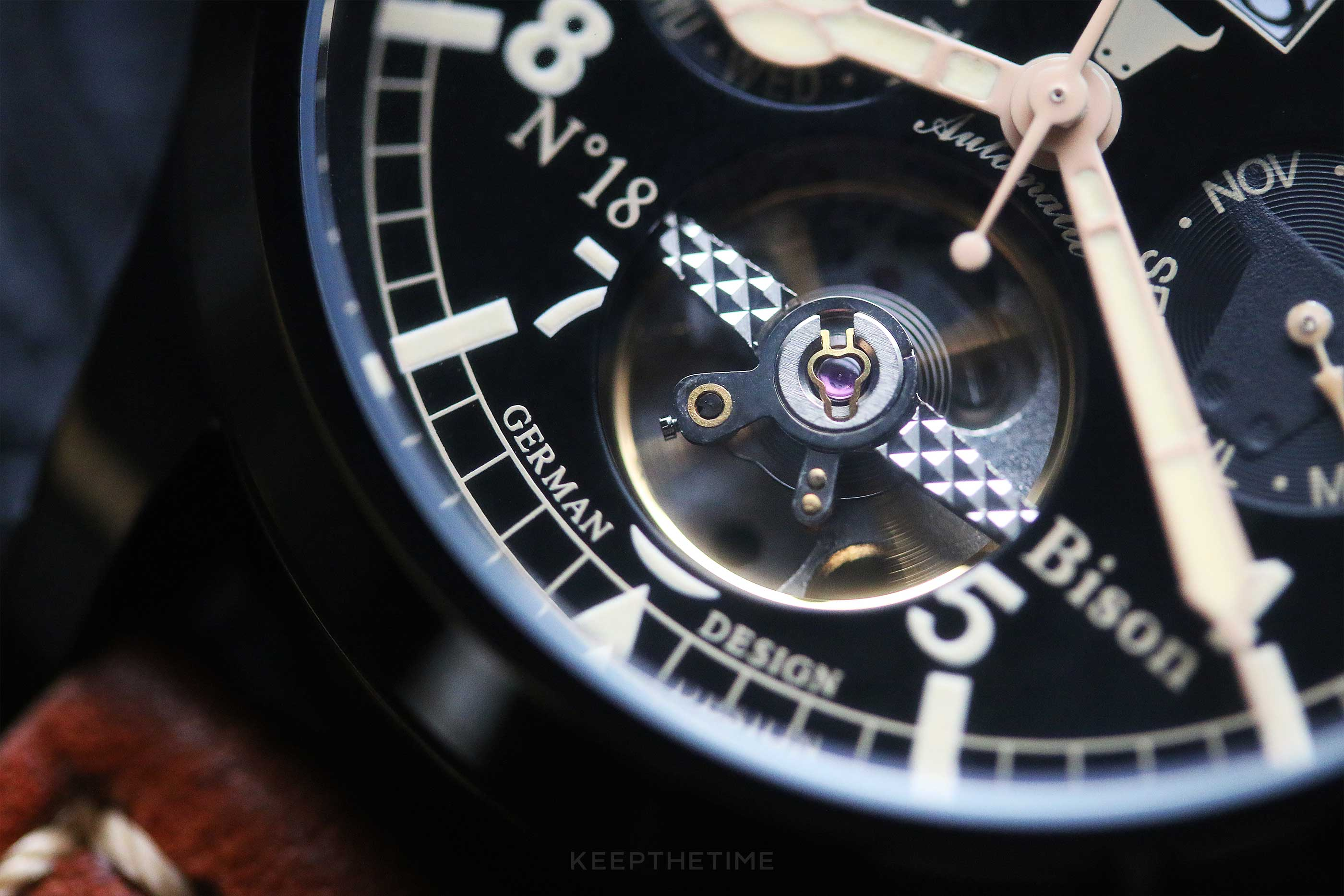Ingersoll Bison 18 PVD Open Escapement Dial