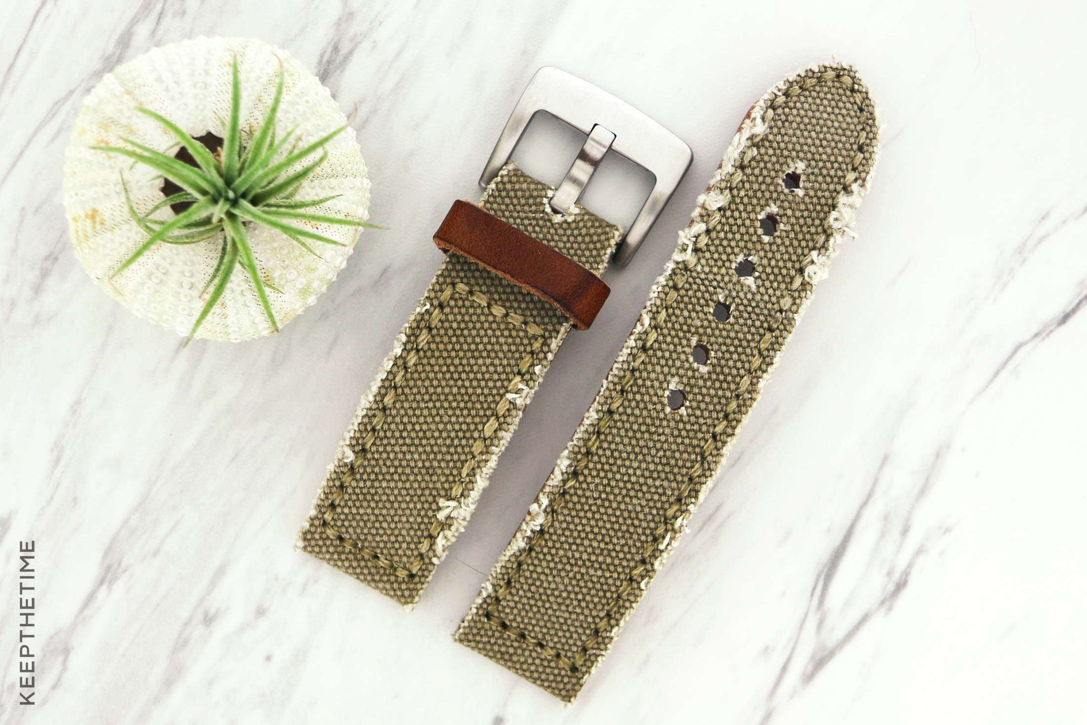 Distressed Canvas Watch Strap - 24mm