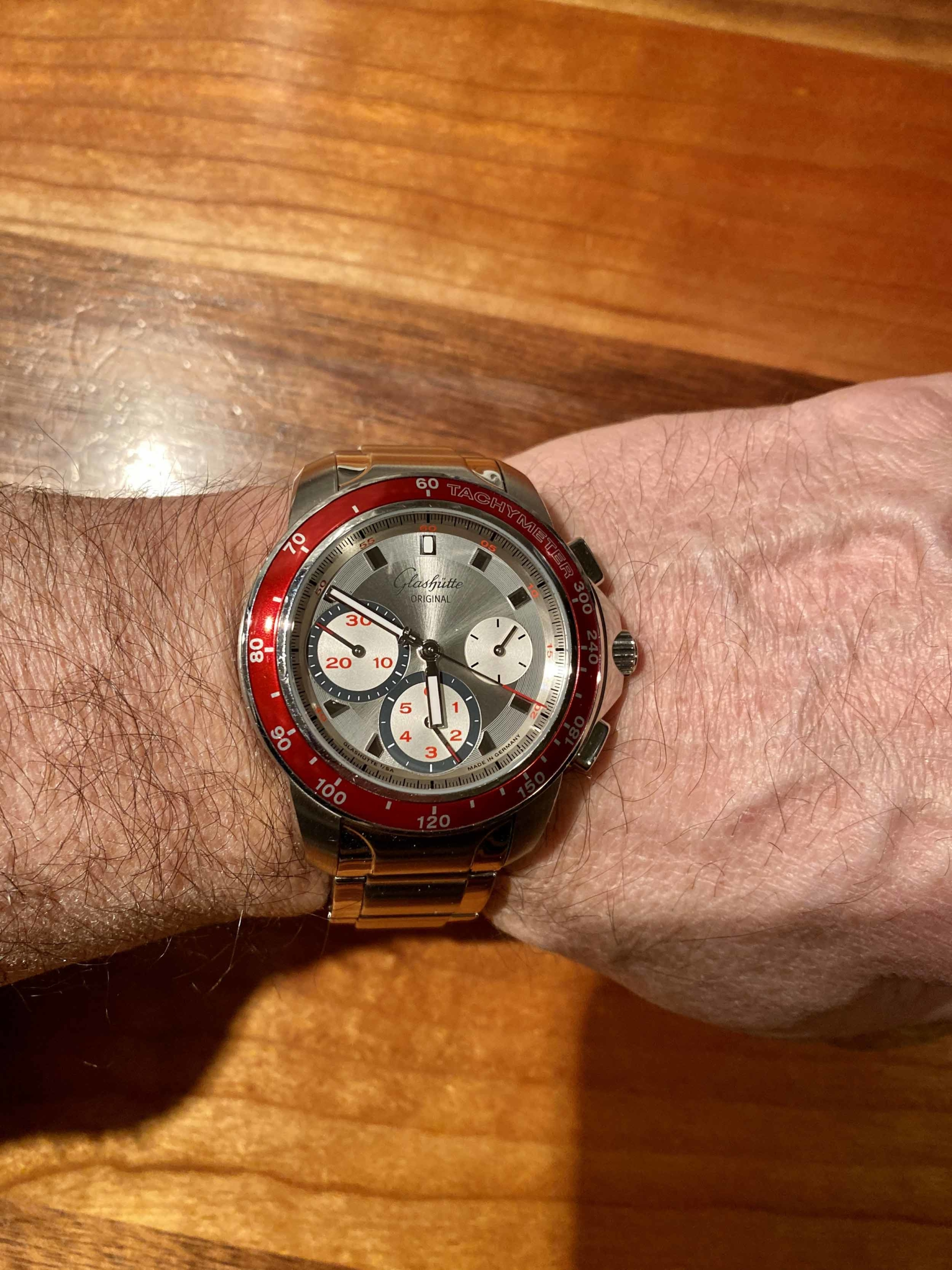 Glashutte Original Red Sport Evolution Chronograph Wristshot