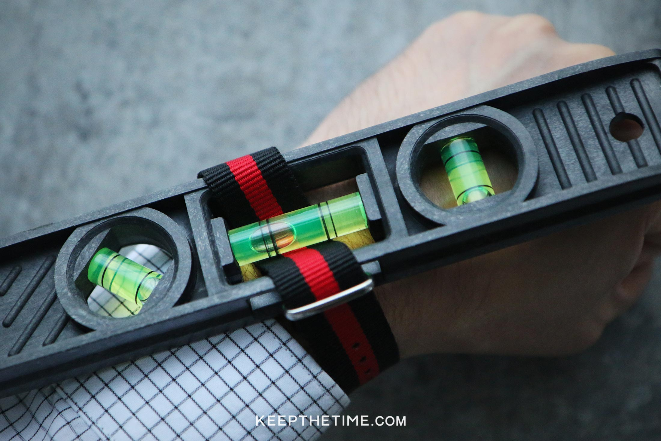 Oil Filled Spirit Level Watch On The Wrist