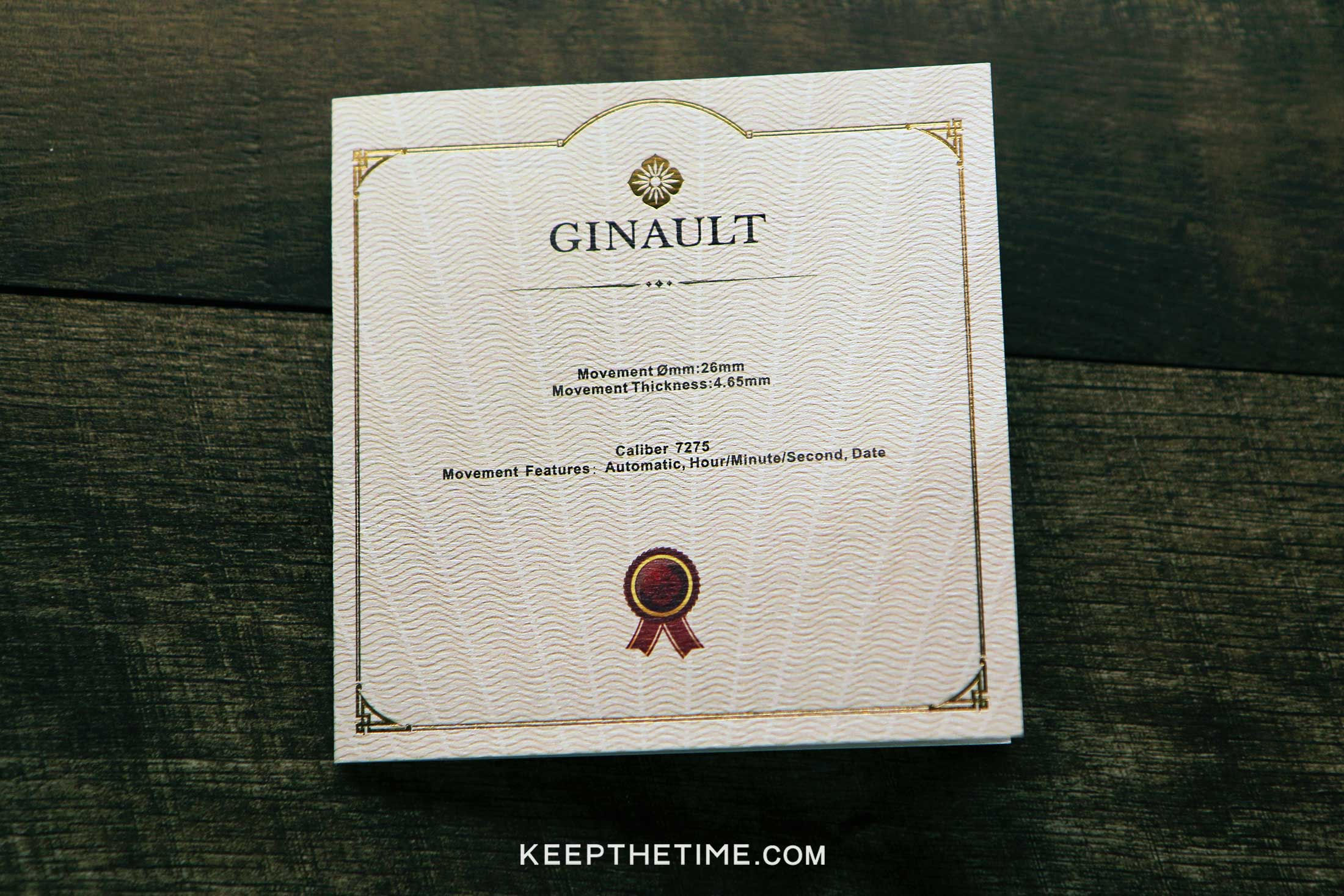 Ginault Watch Ceritifed Chronometer Papers